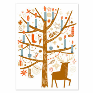 Interfaith nature scene with reindeer and Christmas tree